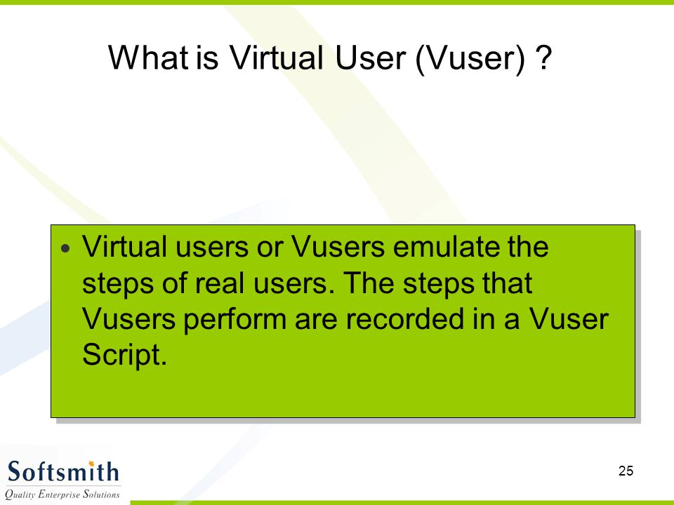 What is Virtual User (Vuser)