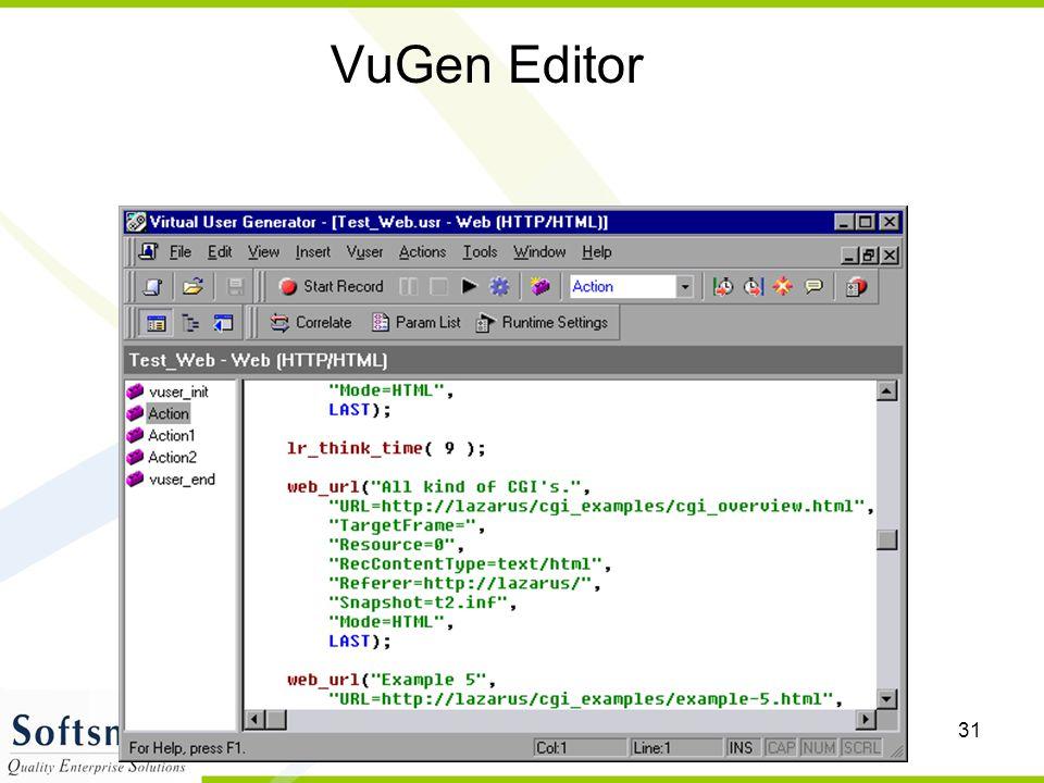 VuGen Editor