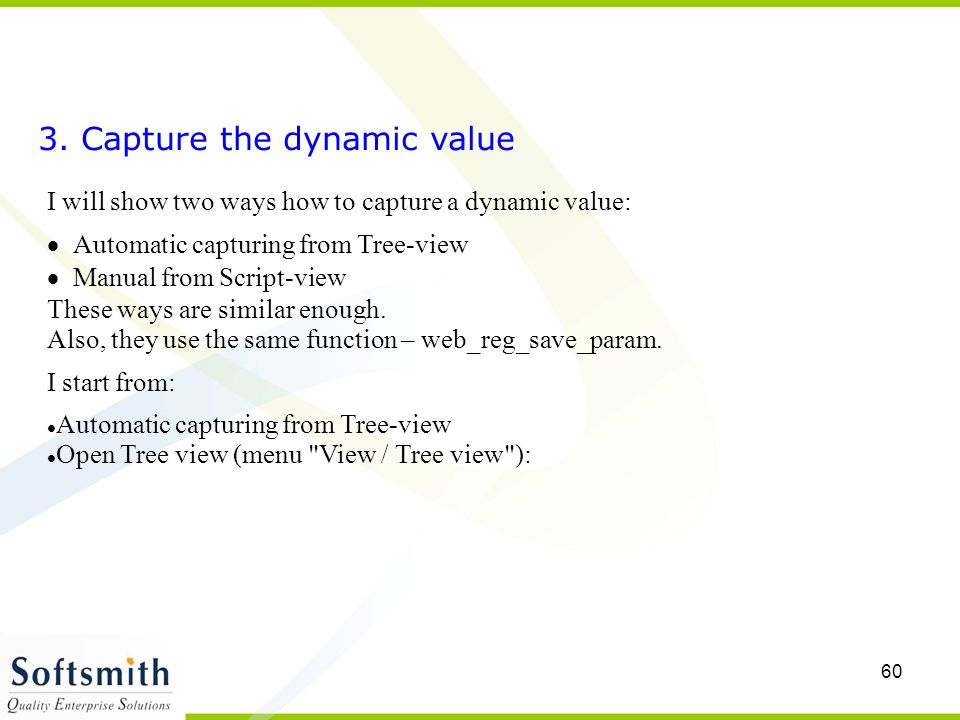 3. Capture the dynamic value
