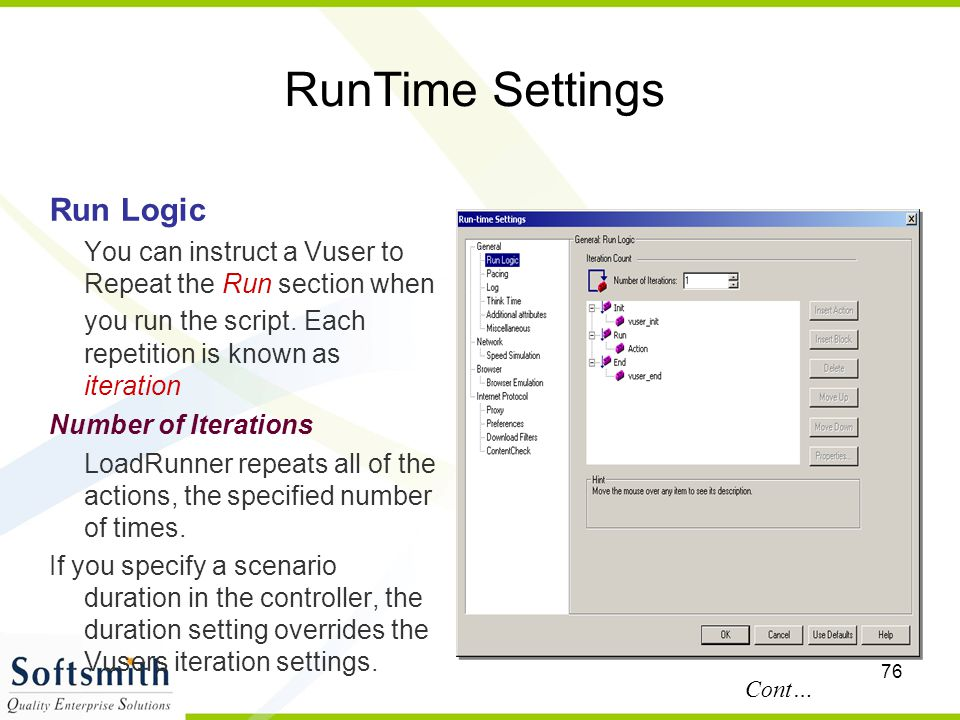 RunTime Settings Run Logic