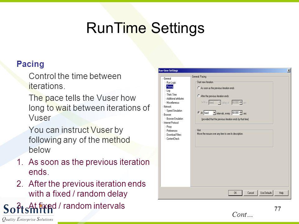 RunTime Settings Pacing