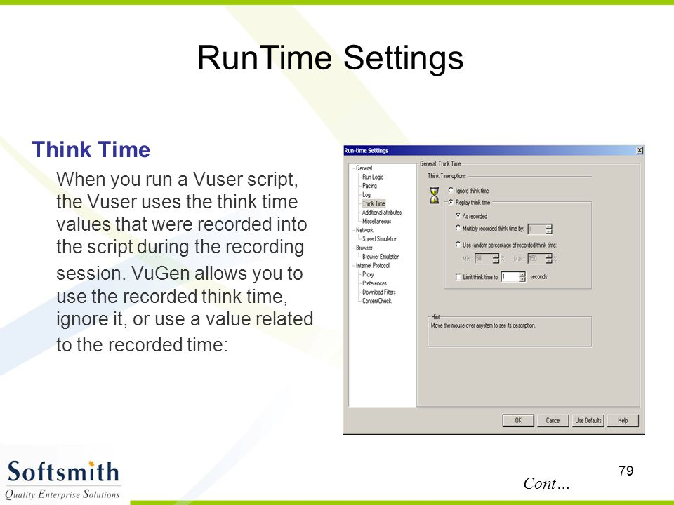 RunTime Settings Think Time