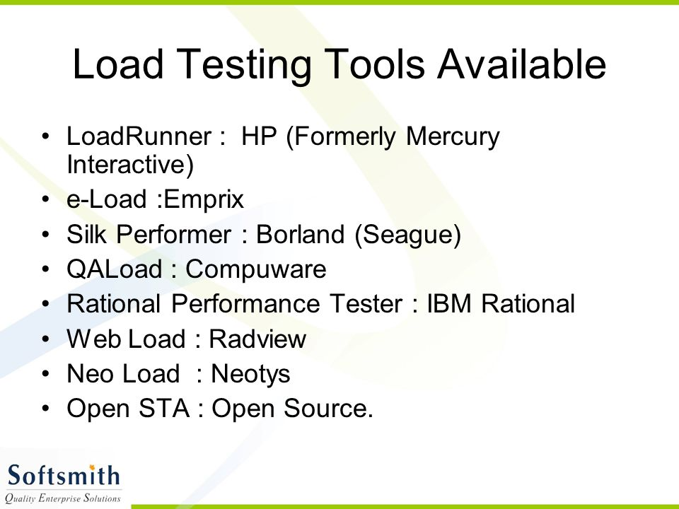 Load Testing Tools Available