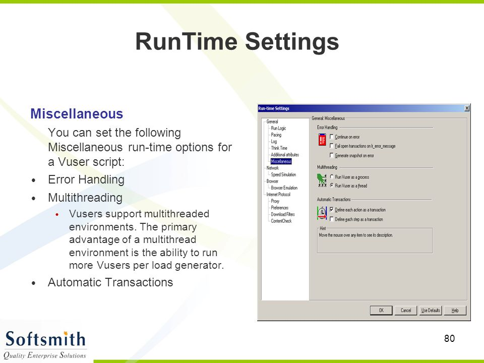 RunTime Settings Miscellaneous