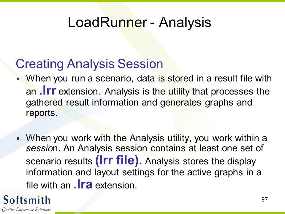 LoadRunner - Analysis Creating Analysis Session