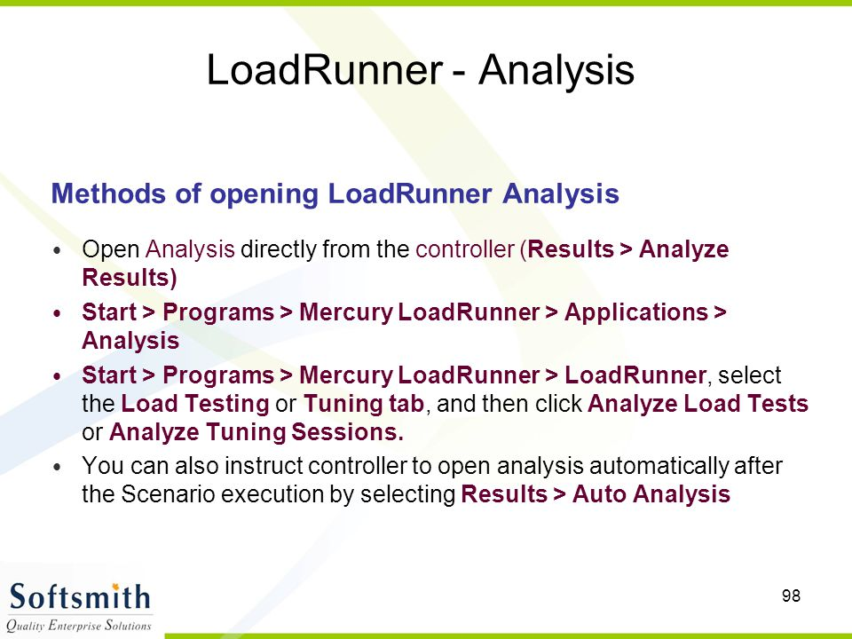 LoadRunner - Analysis Methods of opening LoadRunner Analysis