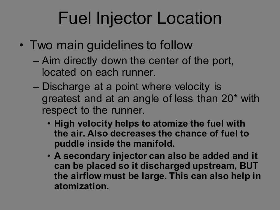 Fuel Injector Location