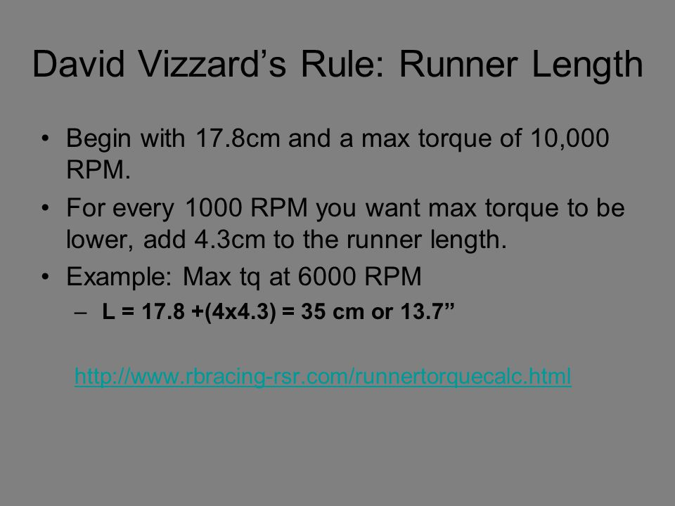 David Vizzard's Rule: Runner Length