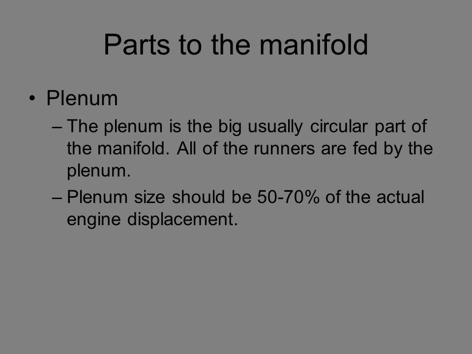 Parts to the manifold Plenum
