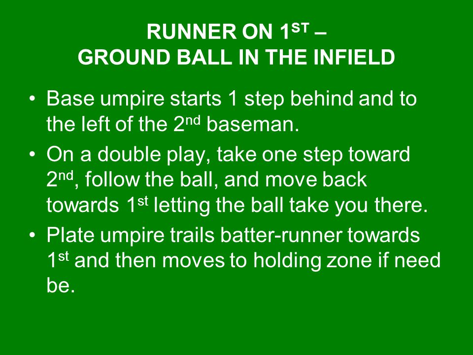 RUNNER ON 1ST – GROUND BALL IN THE INFIELD