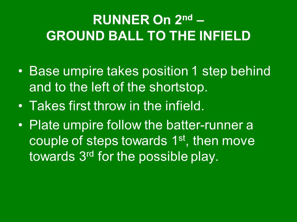 RUNNER On 2nd – GROUND BALL TO THE INFIELD