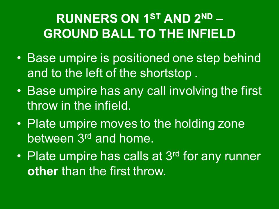 RUNNERS ON 1ST AND 2ND – GROUND BALL TO THE INFIELD