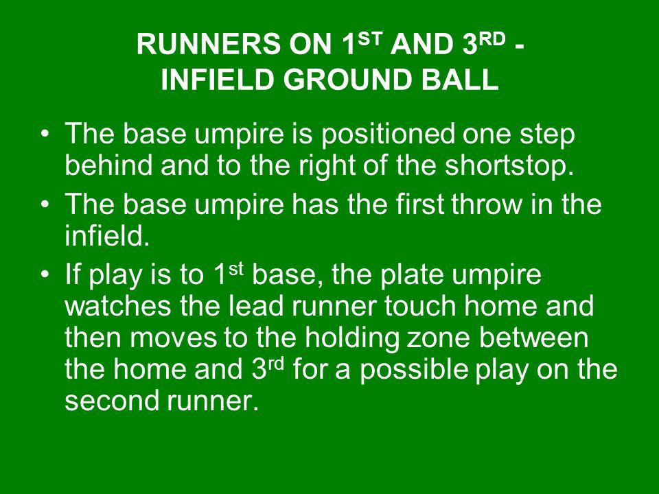 RUNNERS ON 1ST AND 3RD - INFIELD GROUND BALL