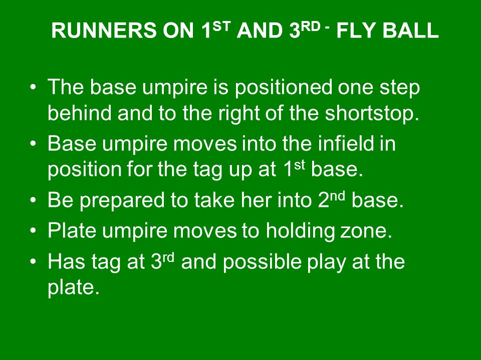 RUNNERS ON 1ST AND 3RD - FLY BALL