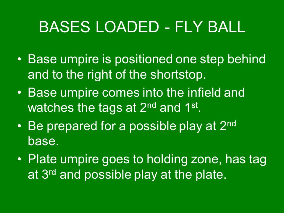 BASES LOADED - FLY BALL Base umpire is positioned one step behind and to the right of the shortstop.