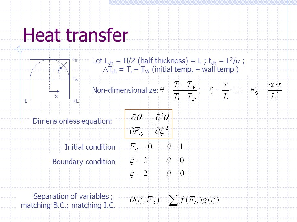 Heat transfer Let Lch = H/2 (half thickness) = L ; tch = L2/a ;