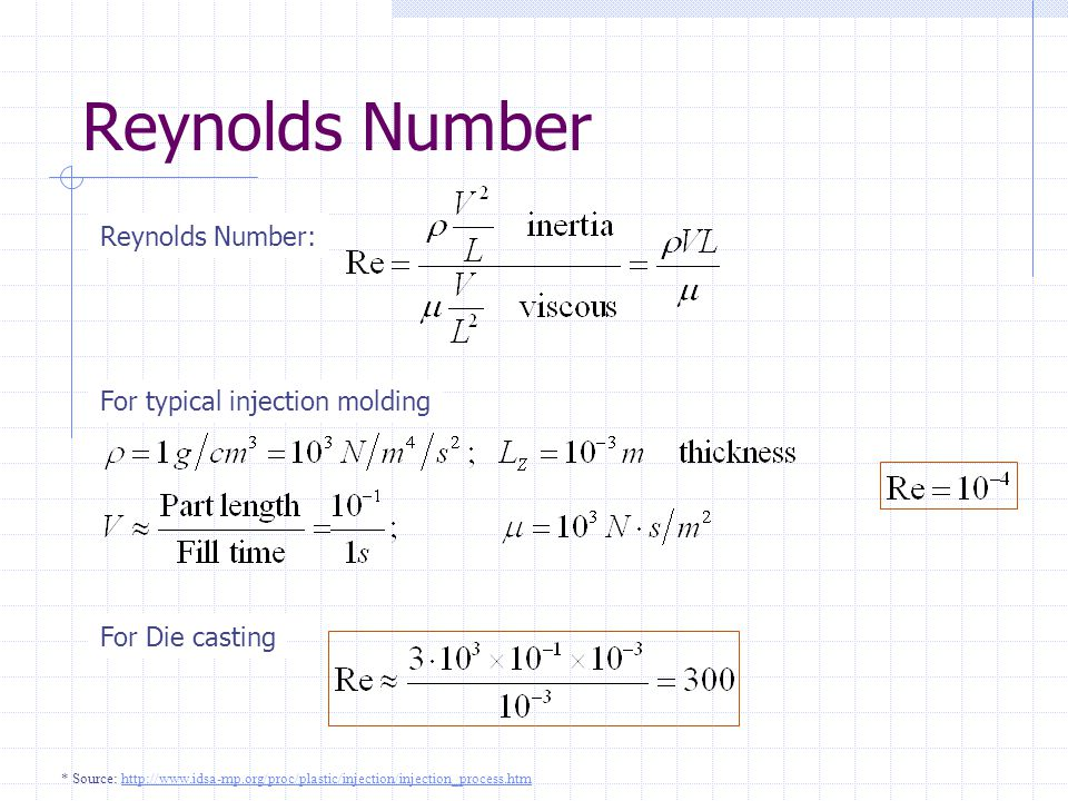 Reynolds Number Reynolds Number: For typical injection molding