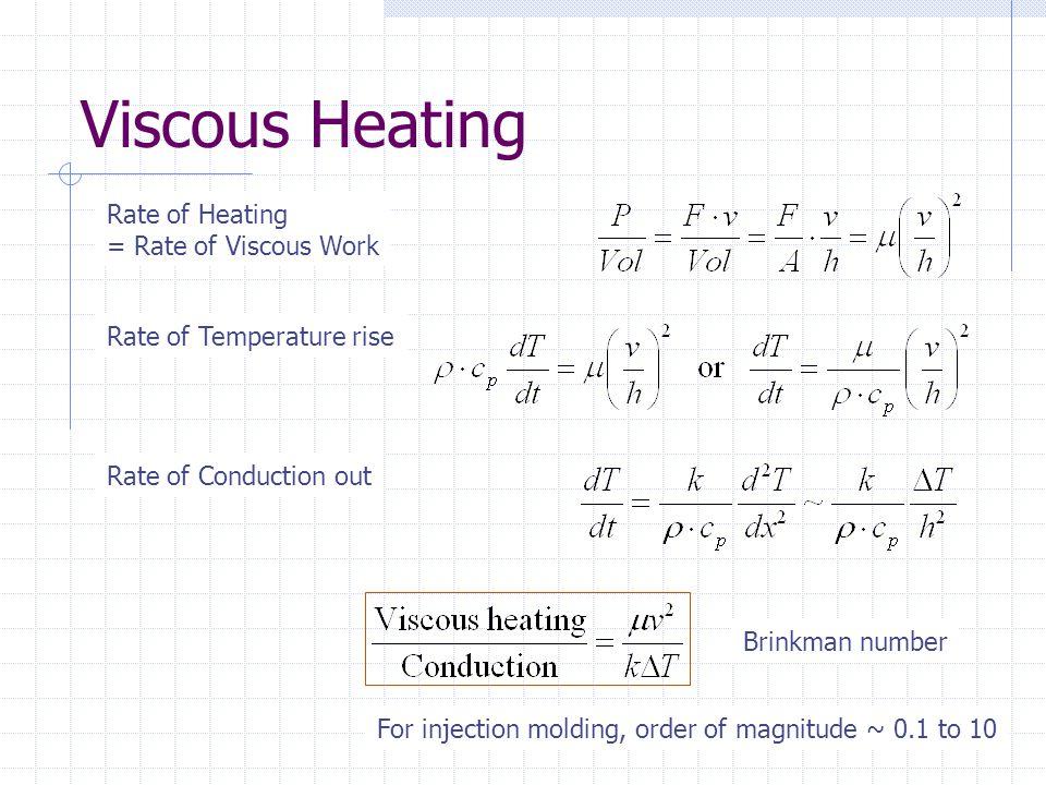 Viscous Heating Rate of Heating = Rate of Viscous Work