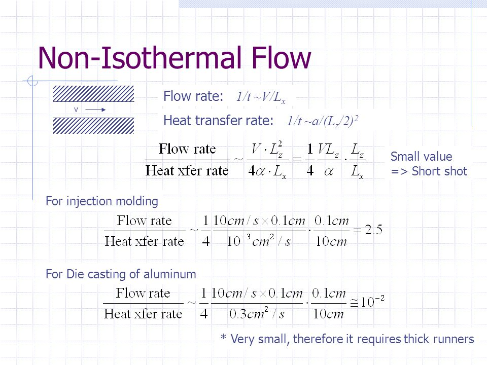 Non-Isothermal Flow Flow rate: 1/t ~V/Lx
