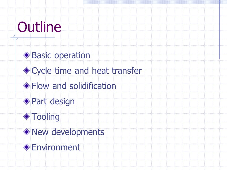 Outline Basic operation Cycle time and heat transfer