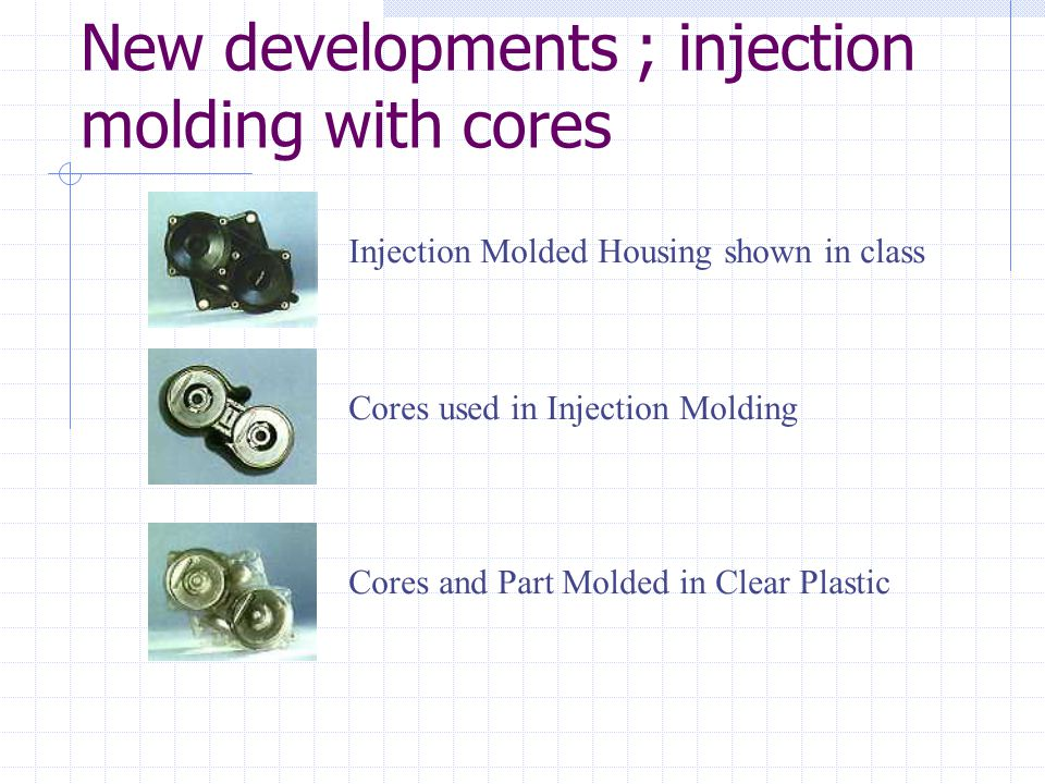 New developments ; injection molding with cores