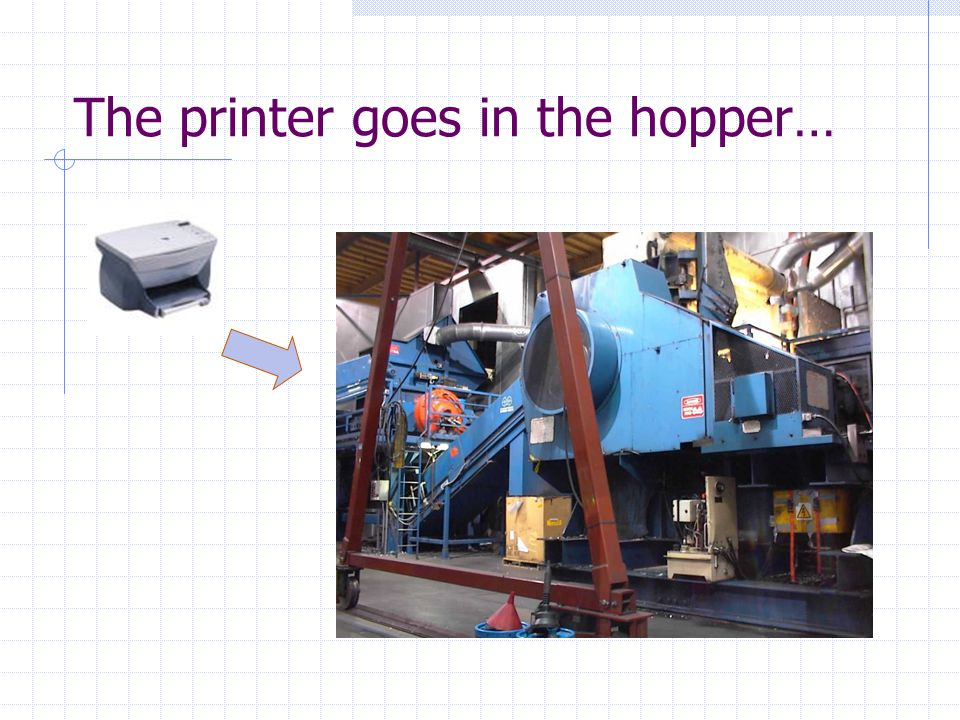 The printer goes in the hopper…