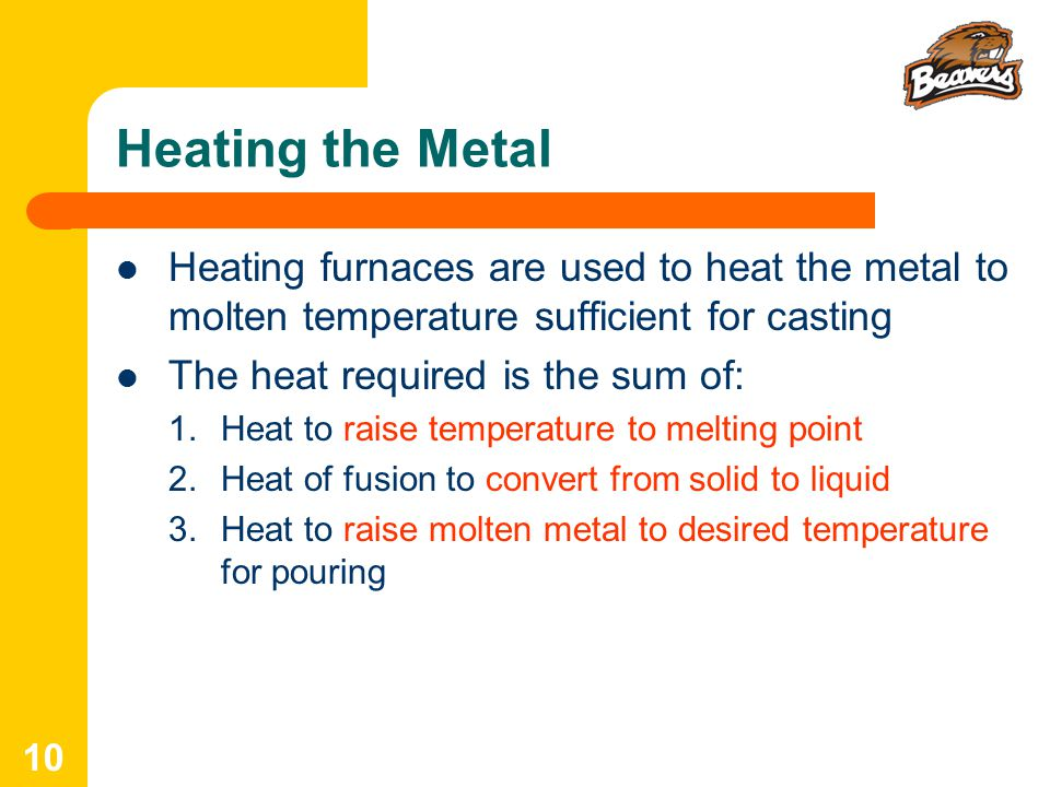 Heating the Metal Heating furnaces are used to heat the metal to molten temperature sufficient for casting.