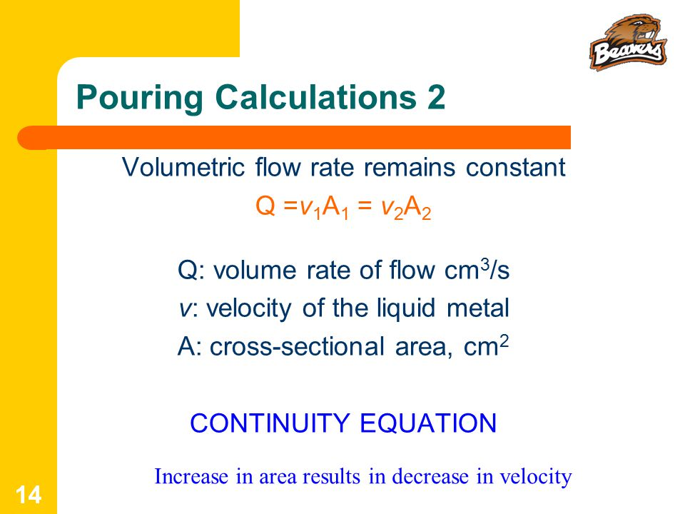 Pouring Calculations 2 Volumetric flow rate remains constant