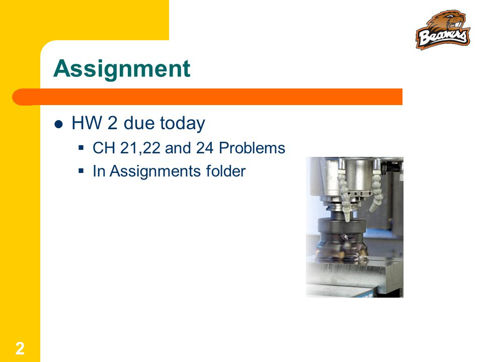 Assignment HW 2 due today CH 21,22 and 24 Problems