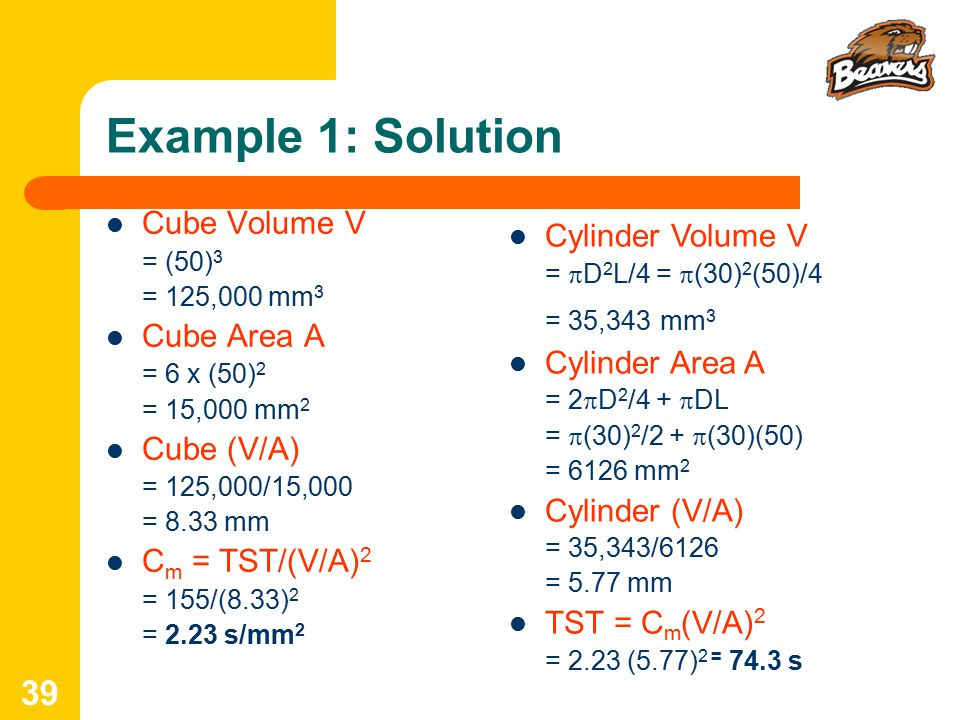 Example 1: Solution Cube Volume V Cylinder Volume V Cube Area A