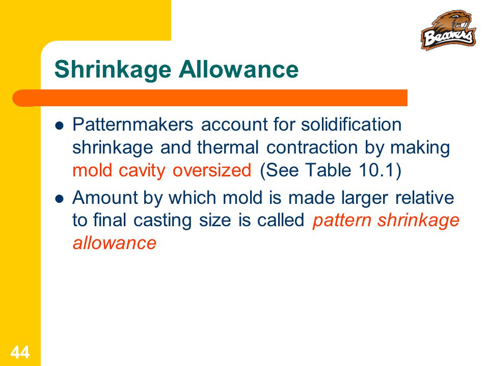 Shrinkage Allowance Patternmakers account for solidification shrinkage and thermal contraction by making mold cavity oversized (See Table 10.1)
