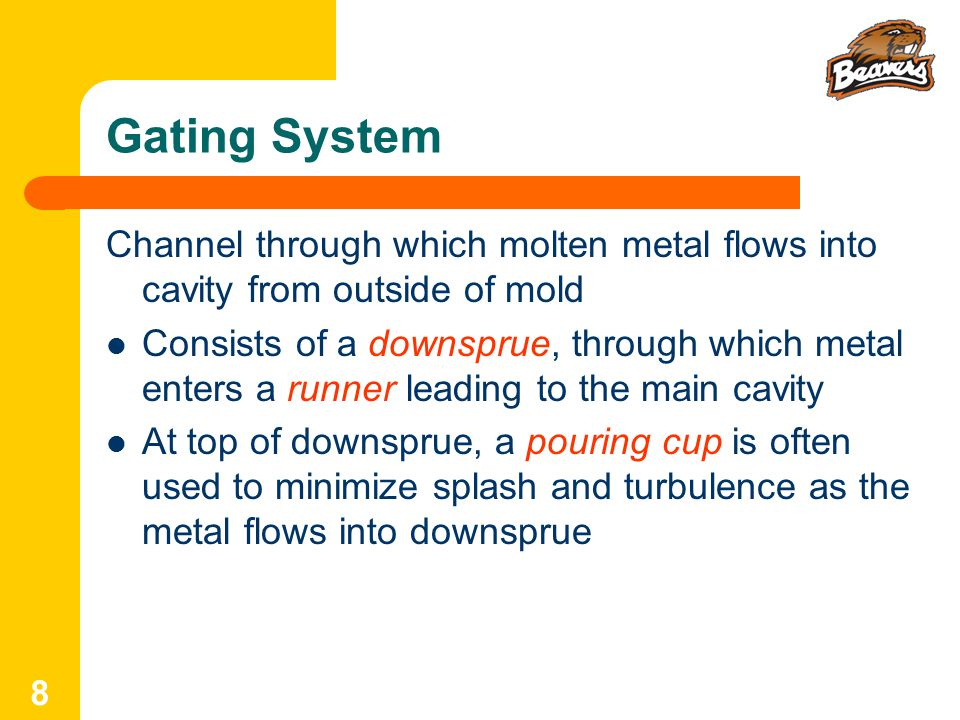 Gating System Channel through which molten metal flows into cavity from outside of mold.