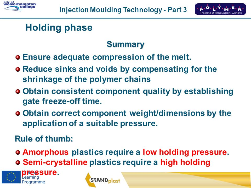 Holding phase Summary Ensure adequate compression of the melt.