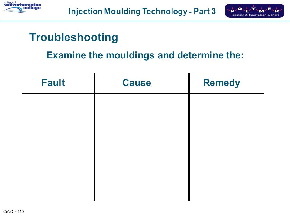 Examine the mouldings and determine the: