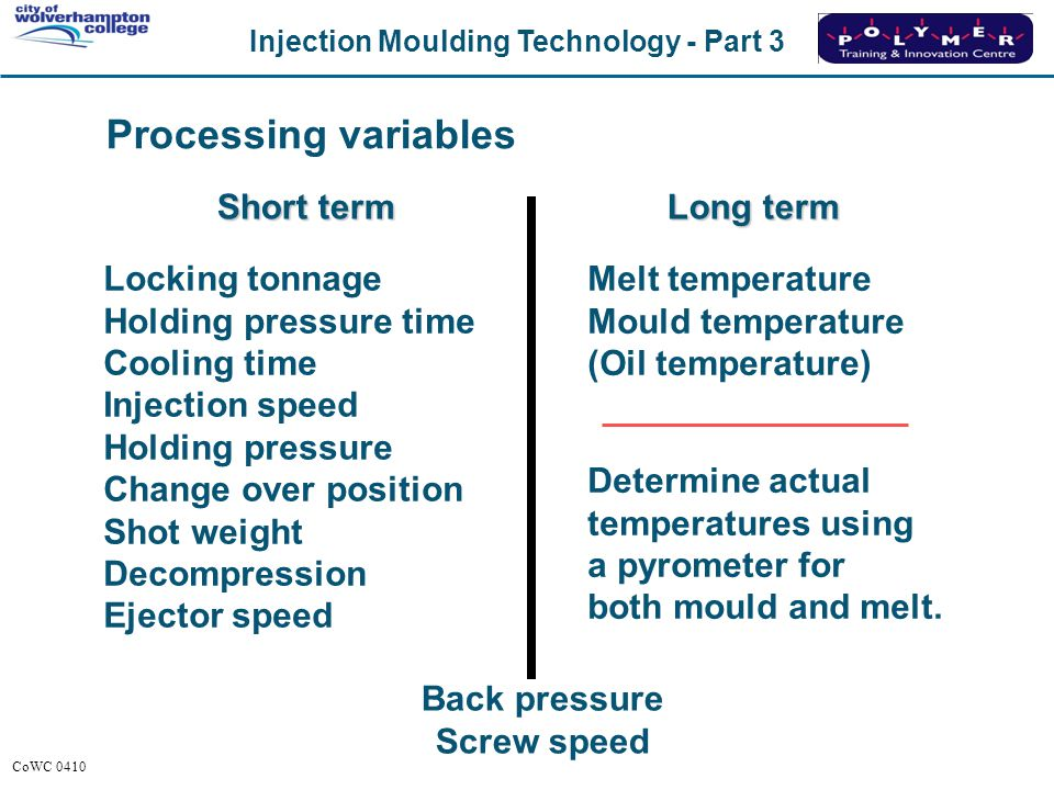 Processing variables Short term Long term Locking tonnage