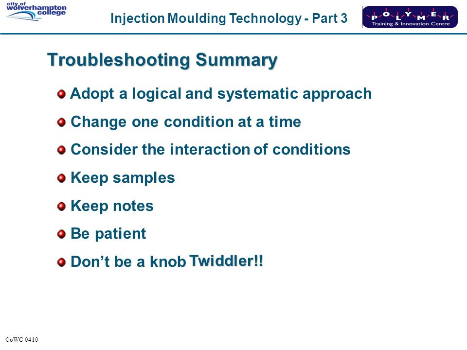 Troubleshooting Summary
