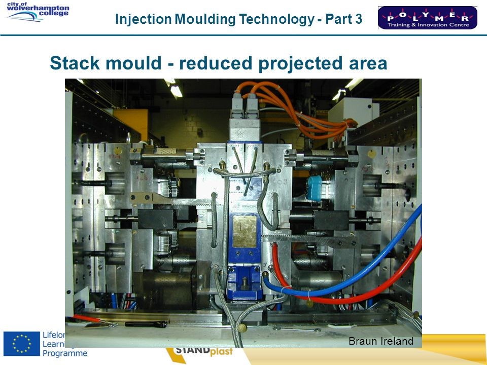 Stack mould - reduced projected area