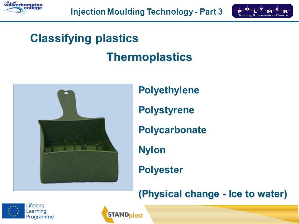 Classifying plastics Thermoplastics Polyethylene Polystyrene