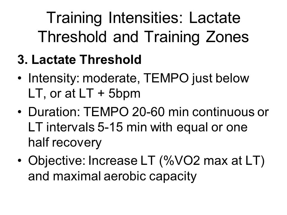 Training Intensities: Lactate Threshold and Training Zones