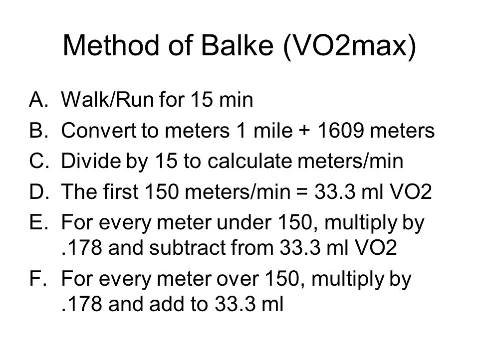 Method of Balke (VO2max)