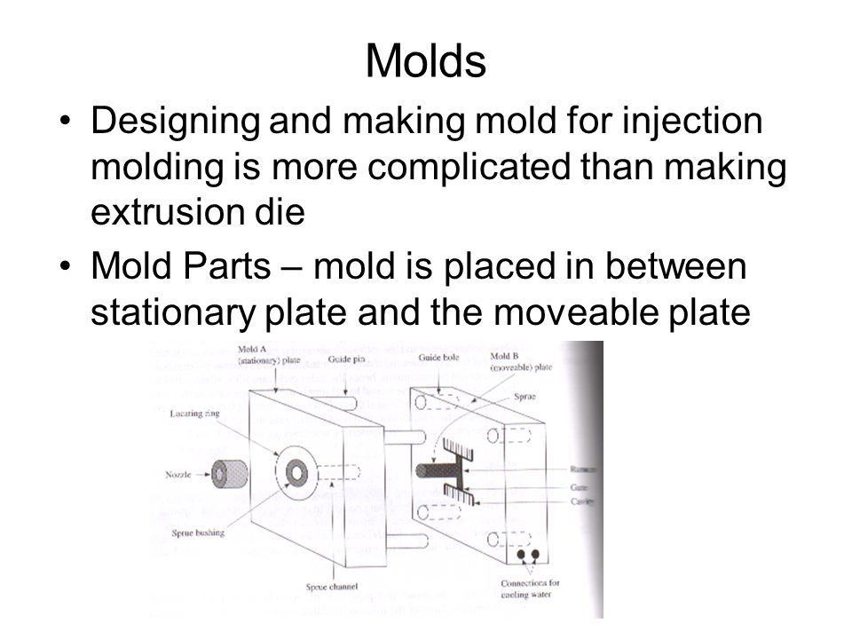 Molds Designing and making mold for injection molding is more complicated than making extrusion die.