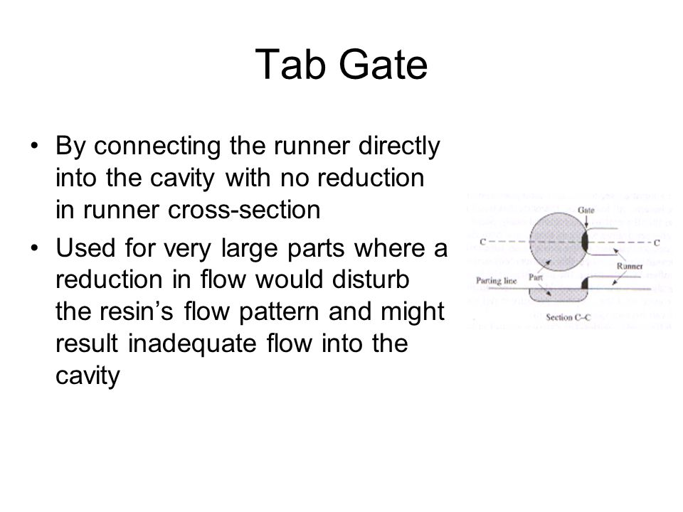 Tab Gate By connecting the runner directly into the cavity with no reduction in runner cross-section.