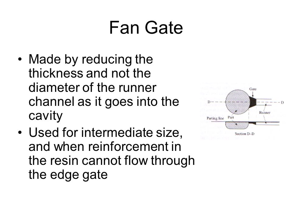 Fan Gate Made by reducing the thickness and not the diameter of the runner channel as it goes into the cavity.