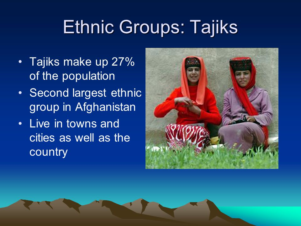 Ethnic Groups: Tajiks Tajiks make up 27% of the population