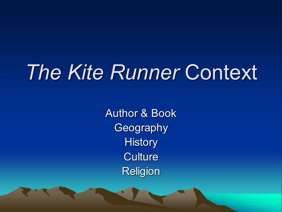 presentation of the kite runner essay Home → sparknotes → literature study guides → the kite runner → suggested essay topics the kite runner khaled hosseini contents plot overview + the.