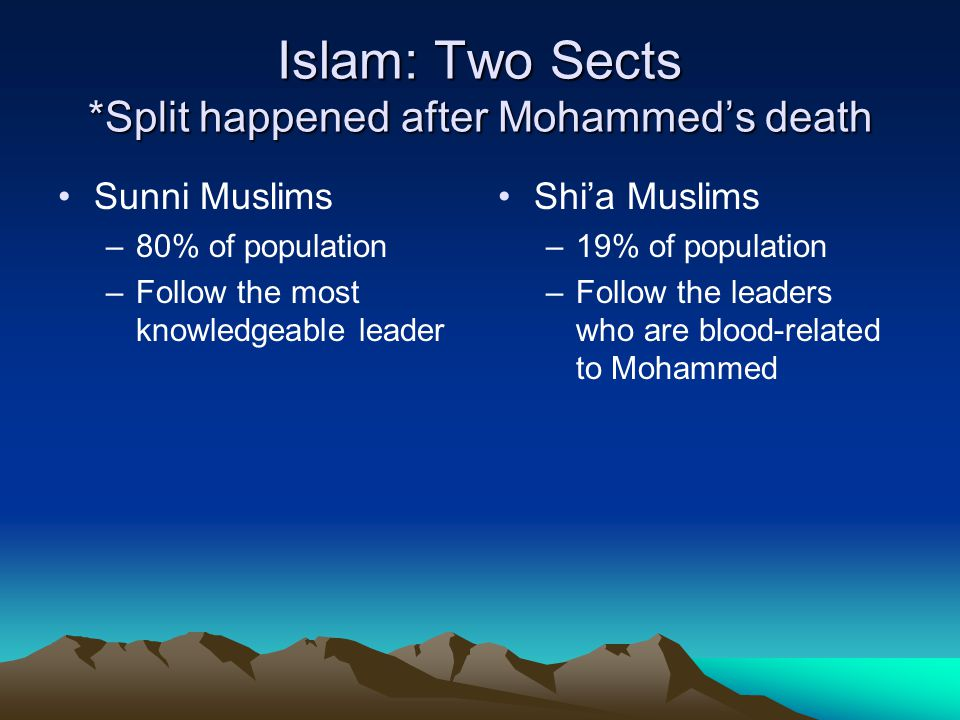 Islam: Two Sects *Split happened after Mohammed's death