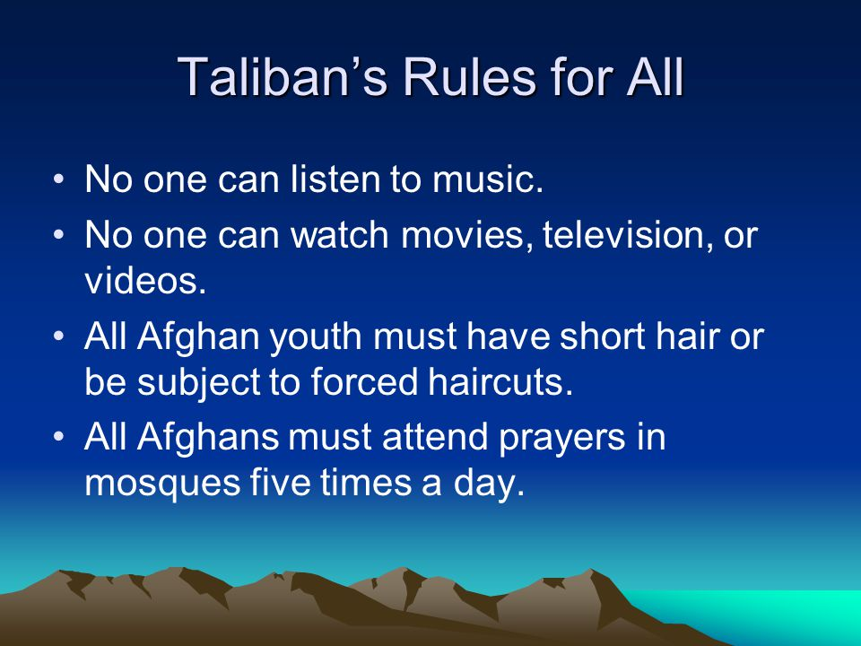 Taliban's Rules for All