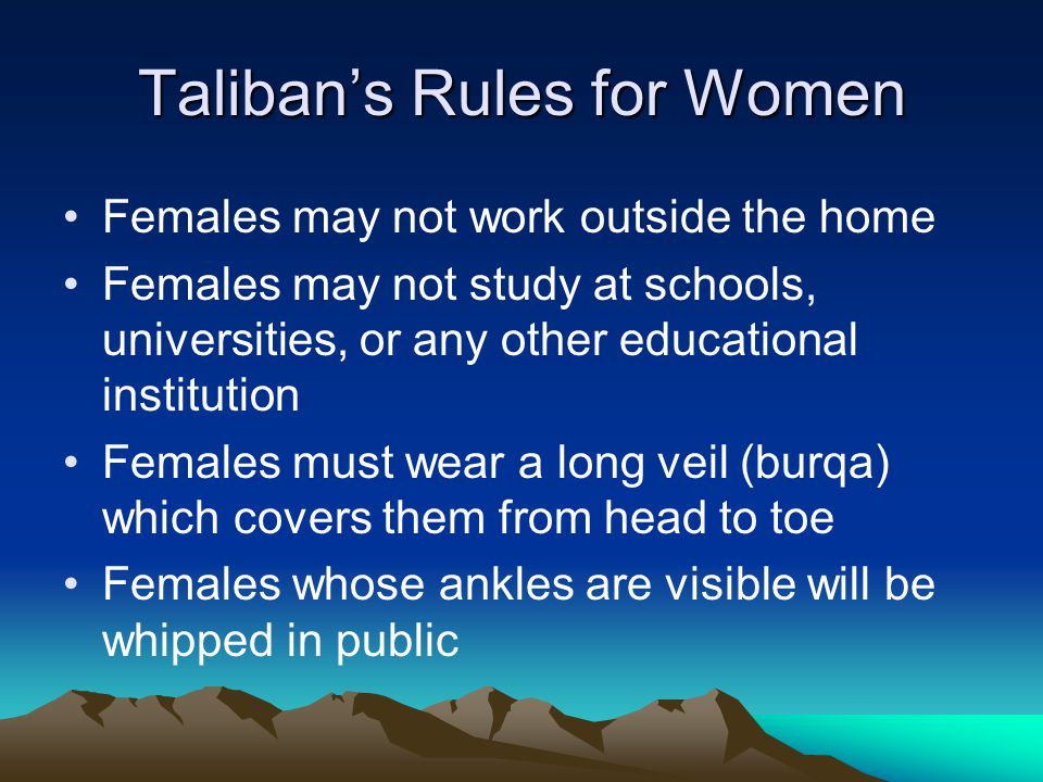 Taliban's Rules for Women