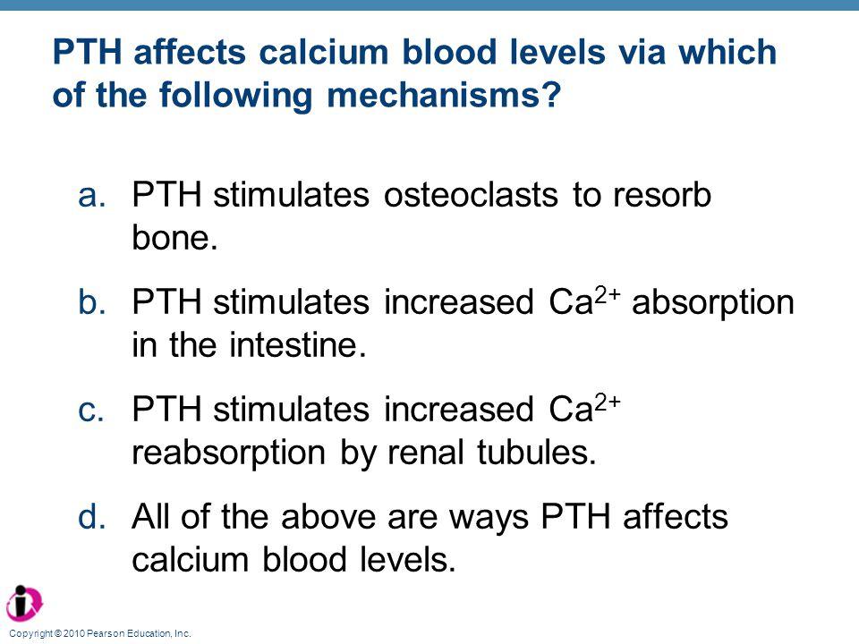 PTH stimulates osteoclasts to resorb bone.