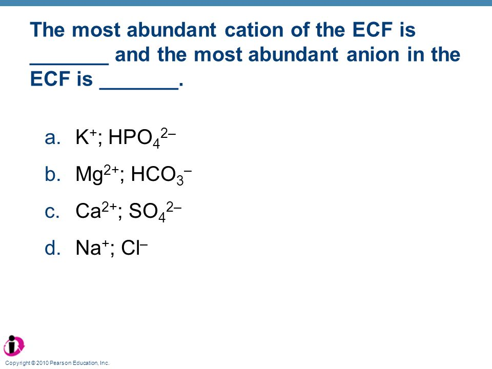 The most abundant cation of the ECF is _______ and the most abundant anion in the ECF is _______.